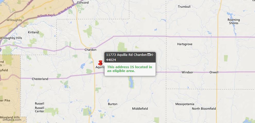 USDA Loan Eligiblity Map - 11773 Aquilla Rd, Chardon, OH 44024
