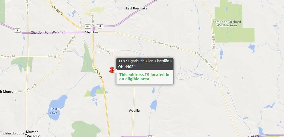 USDA Loan Eligiblity Map - 118 Sugarbush Gln, Chardon, OH 44024