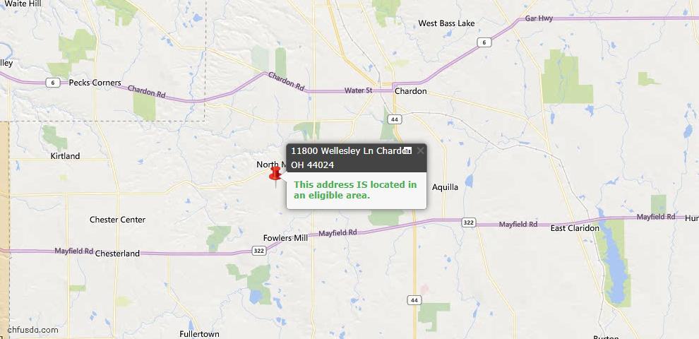 USDA Loan Eligiblity Map - 11800 Wellesley Ln, Chardon, OH 44024