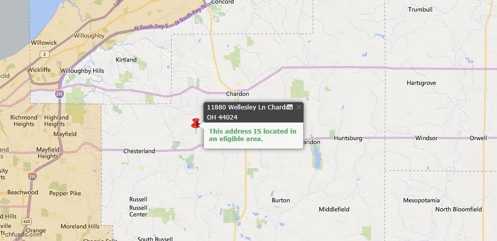 USDA Loan Eligiblity Map - 11880 Wellesley Ln, Chardon, OH 44024