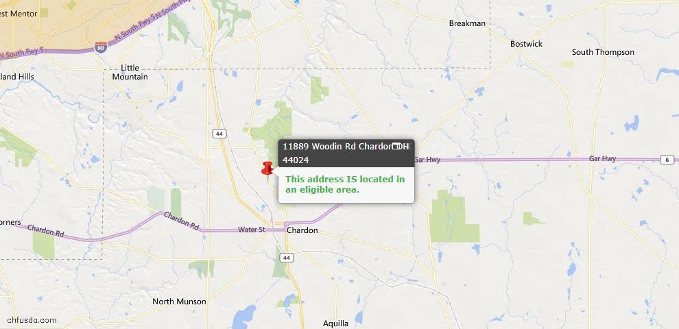 USDA Loan Eligiblity Map - 11889 Woodin Rd, Chardon, OH 44024