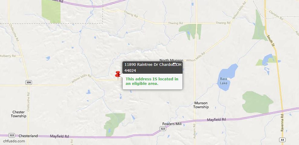 USDA Loan Eligiblity Map - 11890 Raintree Dr, Chardon, OH 44024