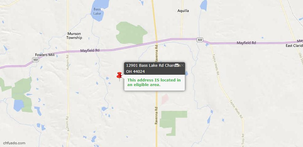 USDA Loan Eligiblity Map - 12901 Bass Lake Rd, Chardon, OH 44024