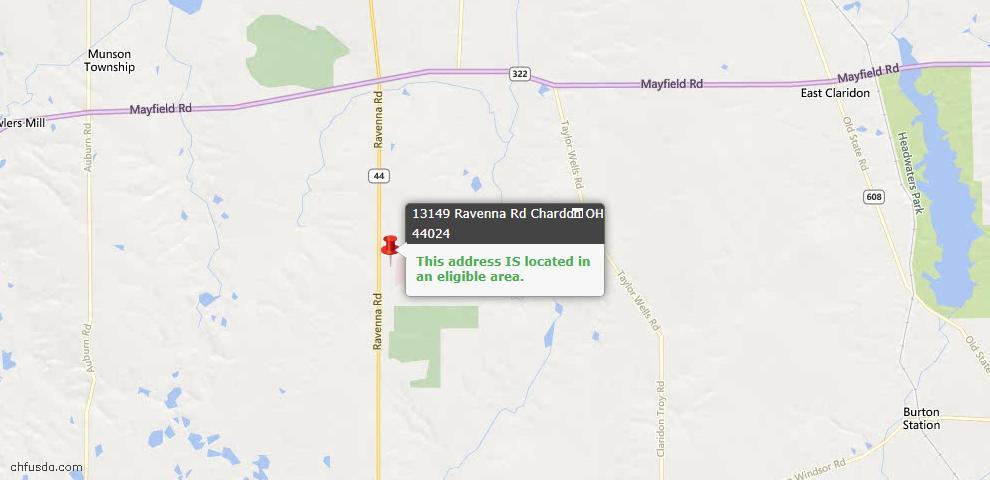 USDA Loan Eligiblity Map - 13149 Ravenna Rd, Chardon, OH 44024