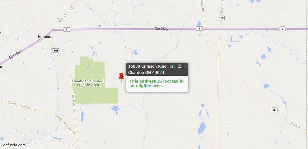 USDA Loan Eligiblity Maps From - Chardon, OH