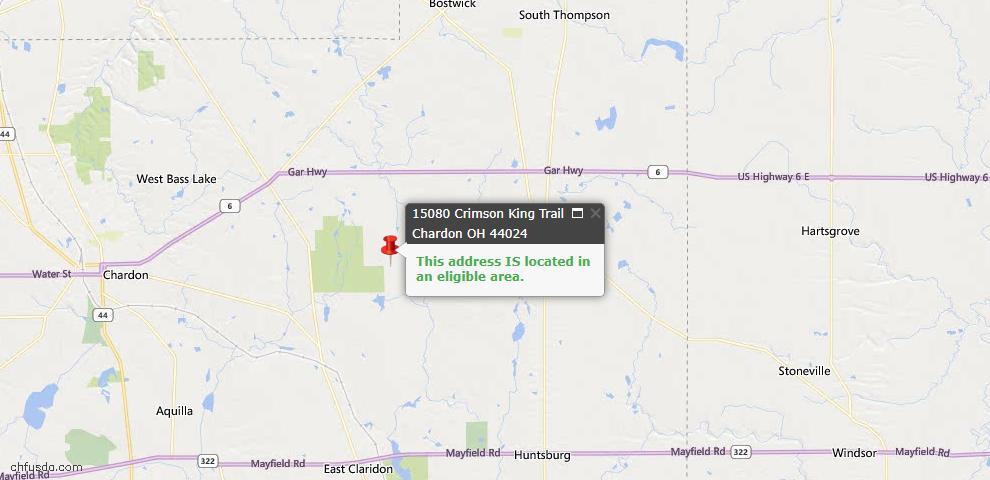 USDA Loan Eligiblity Map - 15080 Crimson King Trl, Chardon, OH 44024