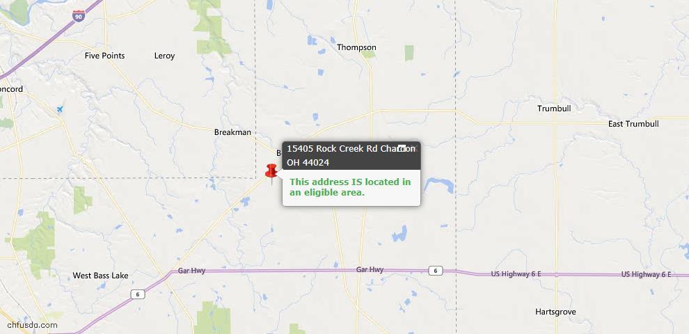 USDA Loan Eligiblity Map - 15405 Rock Creek Rd, Chardon, OH 44024
