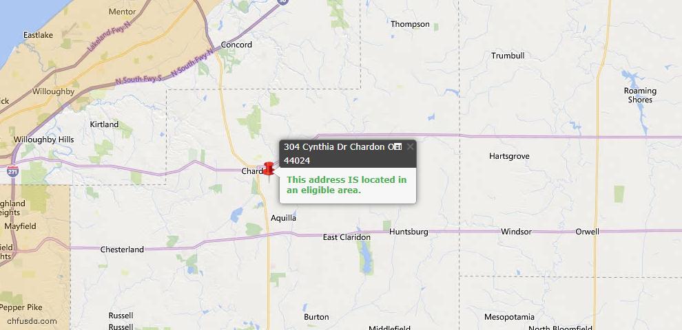USDA Loan Eligiblity Map - 304 Cynthia Dr, Chardon, OH 44024