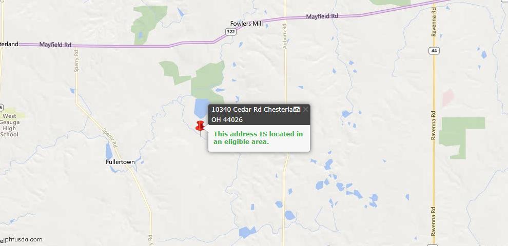 USDA Loan Eligiblity Map - 10340 Cedar Rd, Chesterland, OH 44026