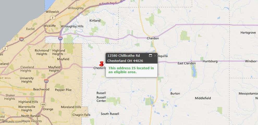 USDA Loan Eligiblity Map - 12580 Chillicothe Rd, Chesterland, OH 44026