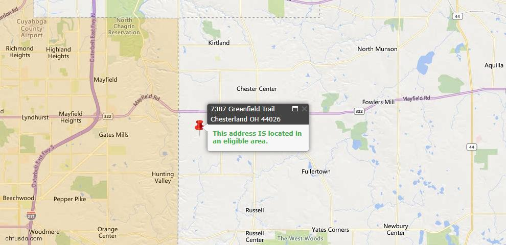 USDA Loan Eligiblity Map - 7387 Greenfield Trl, Chesterland, OH 44026