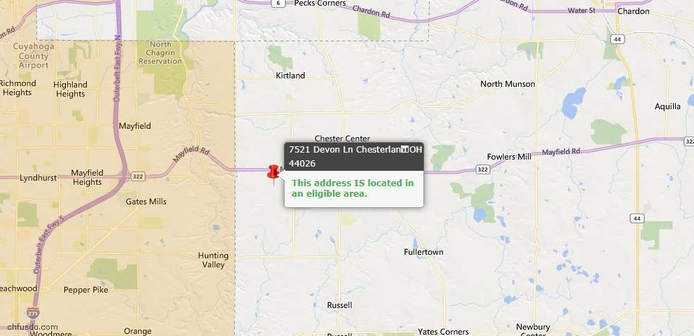 USDA Loan Eligiblity Map - 7521 Devon Ln, Chesterland, OH 44026