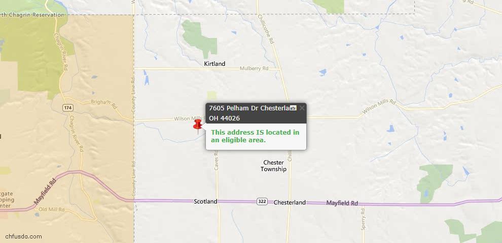 USDA Loan Eligiblity Map - 7605 Pelham Dr, Chesterland, OH 44026