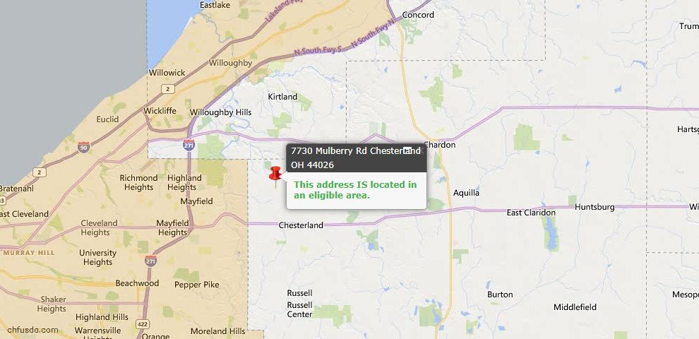 USDA Loan Eligiblity Map - 7730 Mulberry Rd, Chesterland, OH 44026