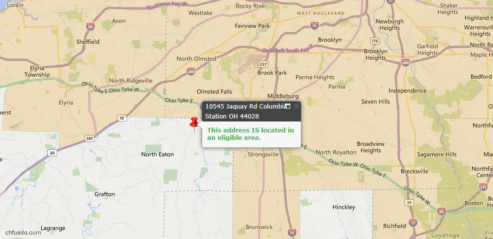 USDA Loan Eligiblity Map - 10545 Jaquay Rd, Columbia Station, OH 44028