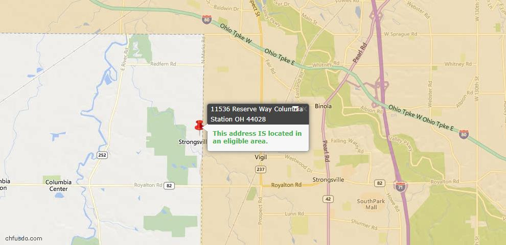 USDA Loan Eligiblity Map - 11536 Reserve Way, Columbia Station, OH 44028
