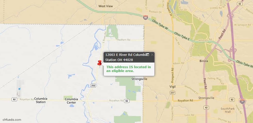 USDA Loan Eligiblity Map - 12003 E River Rd, Columbia Station, OH 44028