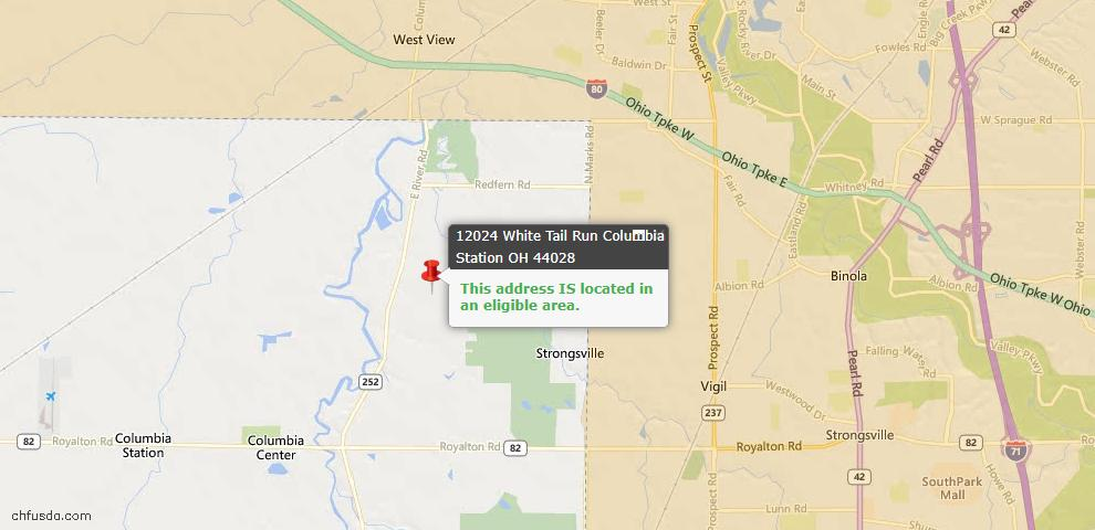 USDA Loan Eligiblity Map - 12024 White Tail Run, Columbia Station, OH 44028