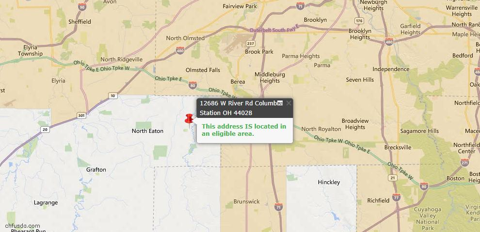 USDA Loan Eligiblity Map - 12686 W River Rd, Columbia Station, OH 44028