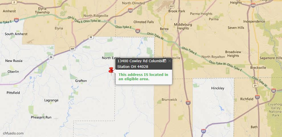 USDA Loan Eligiblity Map - 13400 Cowley Rd, Columbia Station, OH 44028