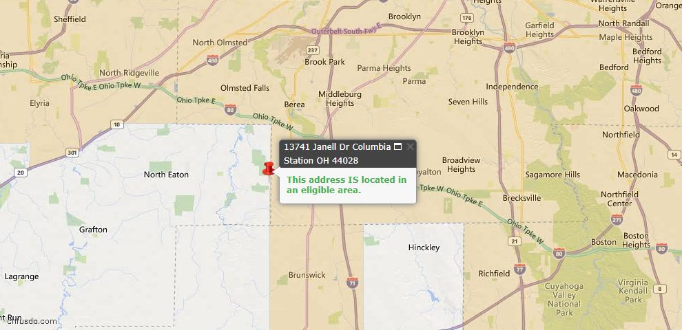 USDA Loan Eligiblity Map - 13741 Janell Dr, Columbia Station, OH 44028
