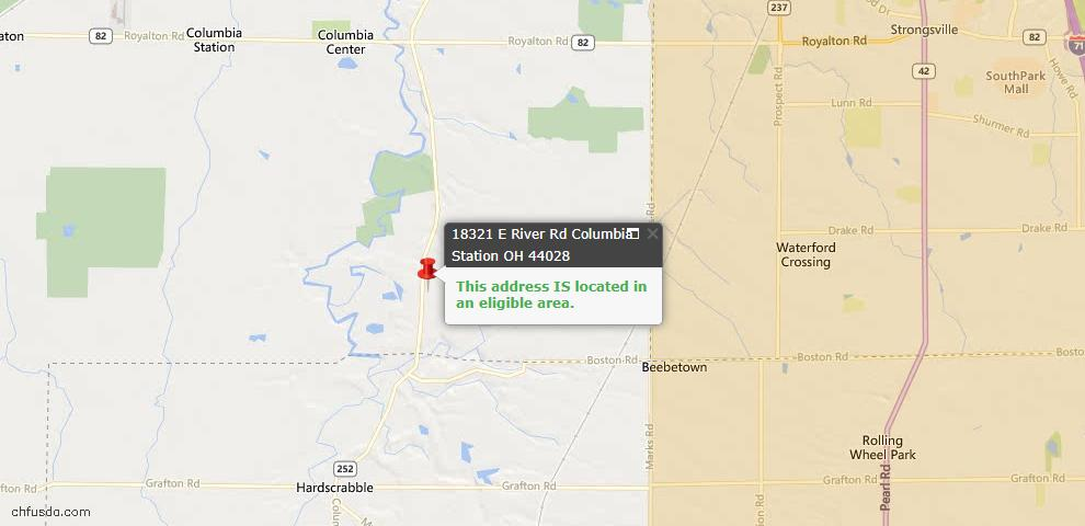 USDA Loan Eligiblity Maps From - Columbia Station, OH