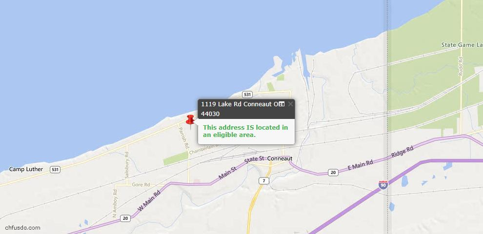 USDA Loan Eligiblity Maps From - Conneaut, OH