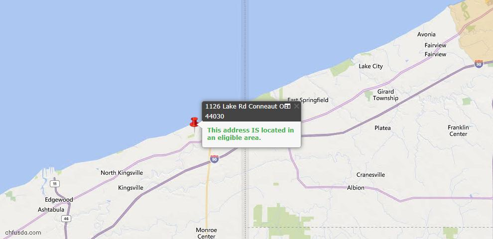 USDA Loan Eligiblity Map - 1126 Lake Rd, Conneaut, OH 44030
