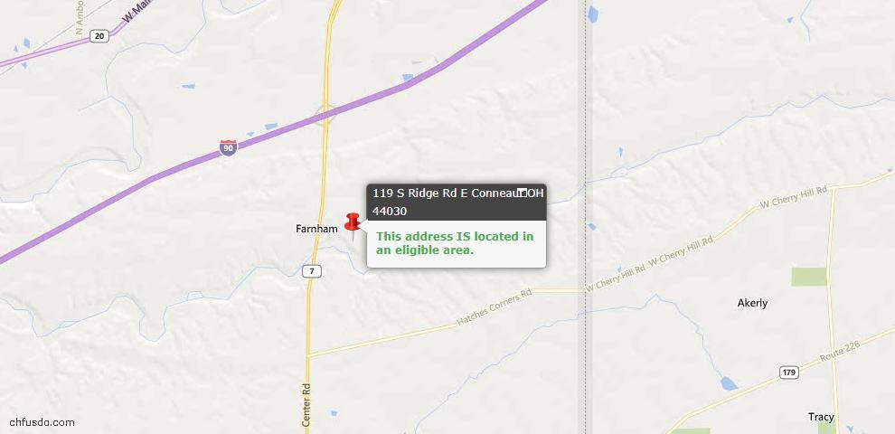 USDA Loan Eligiblity Map - 119 S Ridge Rd E, Conneaut, OH 44030