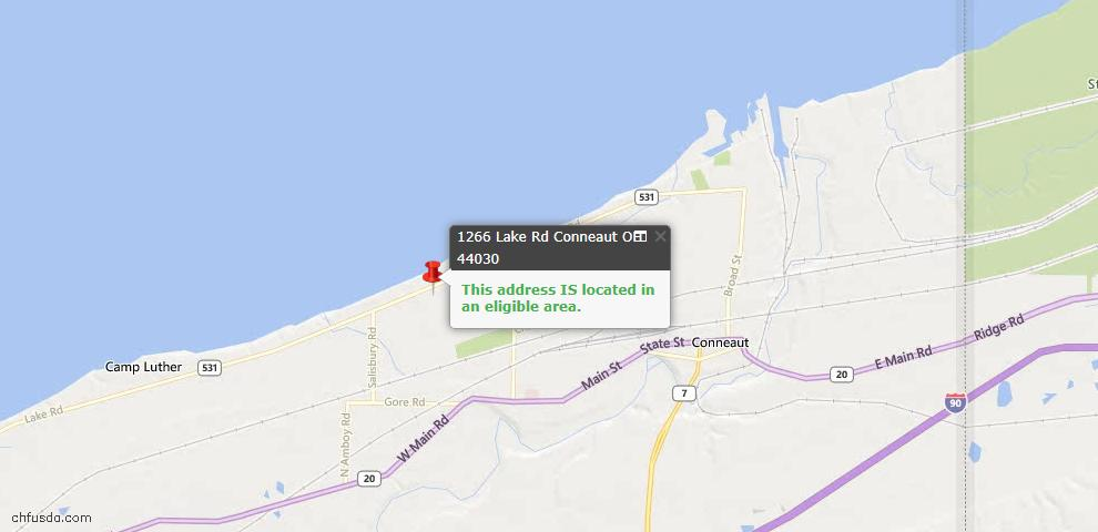 USDA Loan Eligiblity Map - 1266 Lake Rd, Conneaut, OH 44030