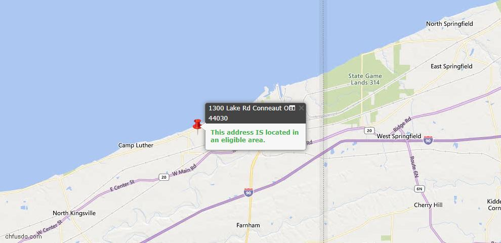 USDA Loan Eligiblity Map - 1300 Lake Rd, Conneaut, OH 44030