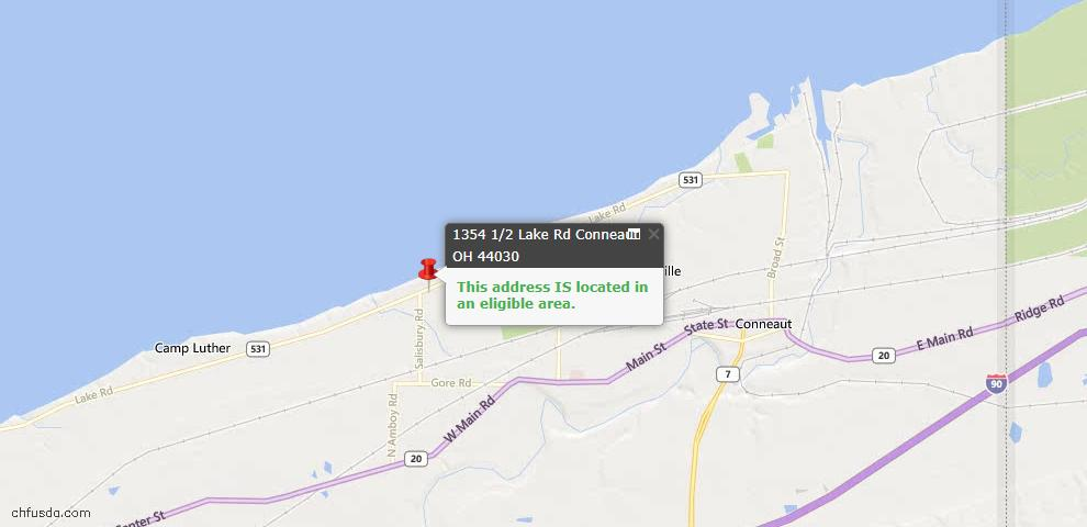 USDA Loan Eligiblity Map - 1354 1/2 Lake Rd, Conneaut, OH 44030