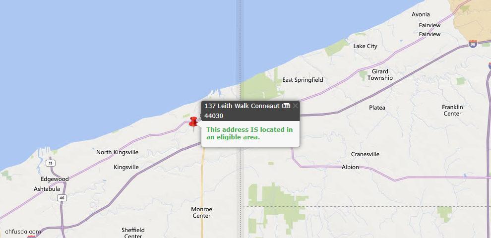 USDA Loan Eligiblity Map - 137 Leith Walk, Conneaut, OH 44030
