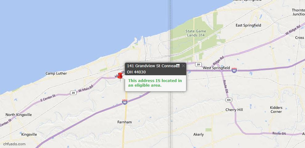 USDA Loan Eligiblity Map - 141 Grandview St, Conneaut, OH 44030