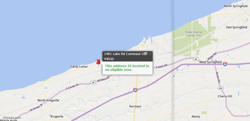 USDA Loan Eligiblity Map - 1481 Lake Rd, Conneaut, OH 44030