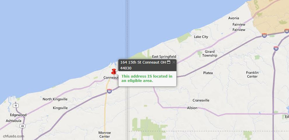 USDA Loan Eligiblity Map - 164 15th St, Conneaut, OH 44030