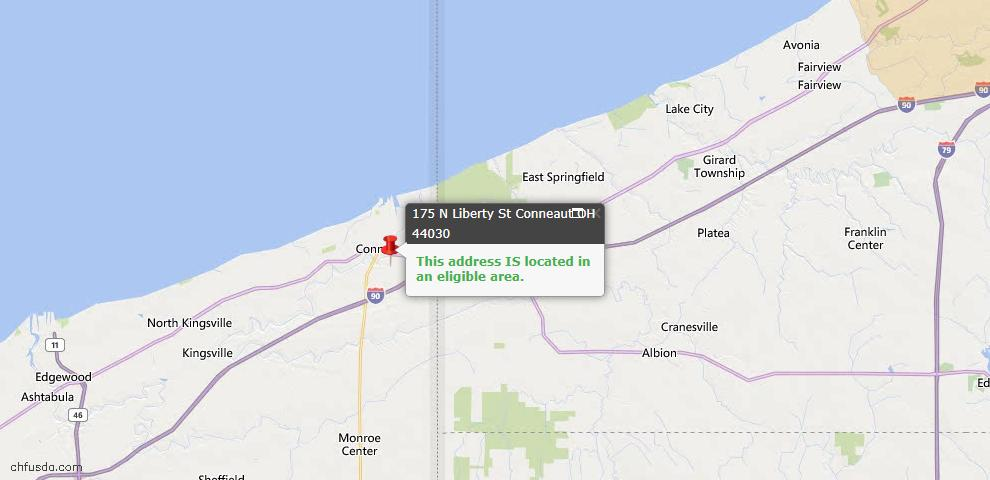 USDA Loan Eligiblity Map - 175 N Liberty St, Conneaut, OH 44030