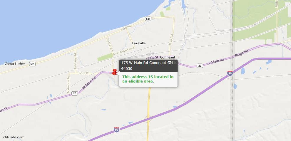 USDA Loan Eligiblity Map - 175 W Main Rd, Conneaut, OH 44030