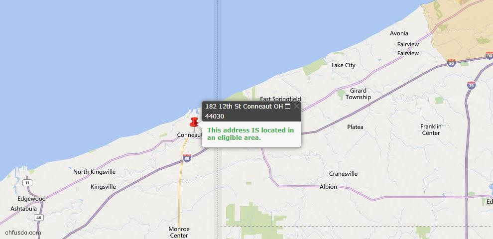 USDA Loan Eligiblity Map - 182 12th St, Conneaut, OH 44030