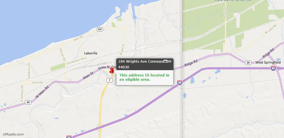 USDA Loan Eligiblity Map - 184 Wrights Ave, Conneaut, OH 44030