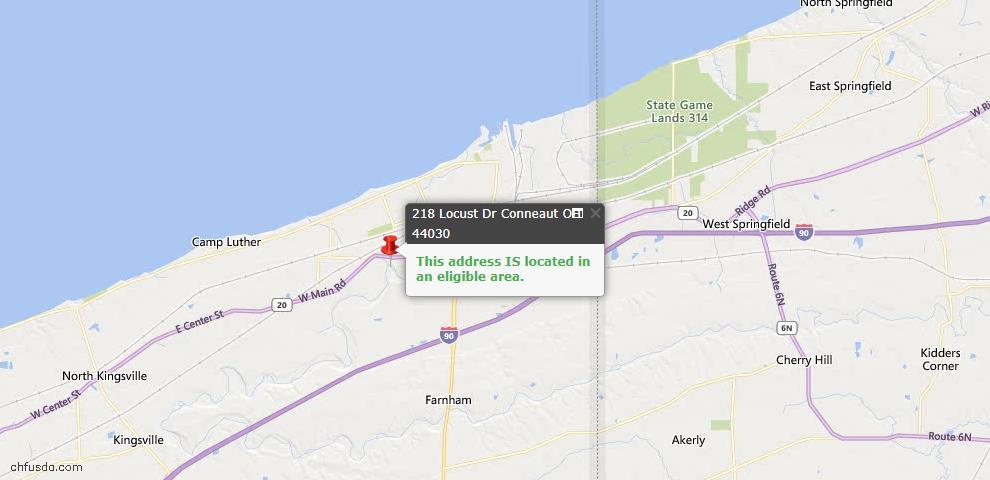 USDA Loan Eligiblity Map - 218 Locust Dr, Conneaut, OH 44030