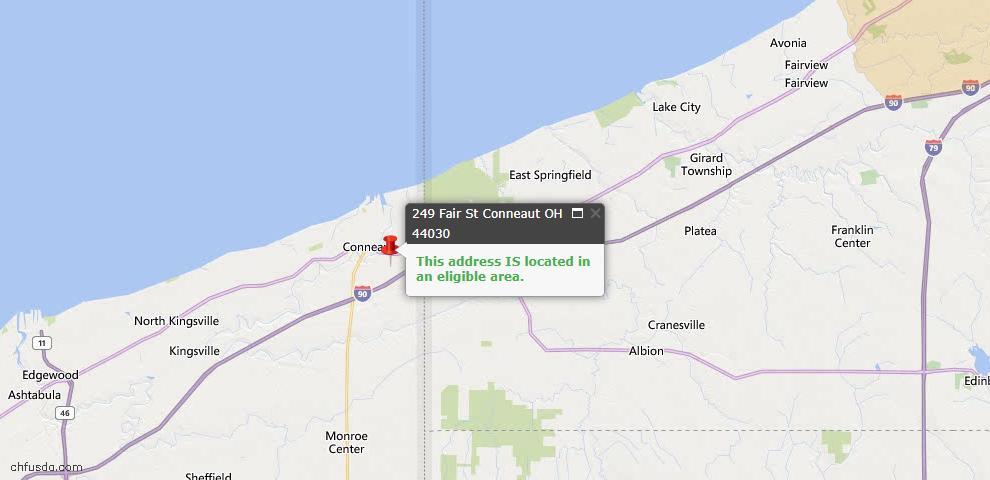 USDA Loan Eligiblity Map - 249 Fair St, Conneaut, OH 44030