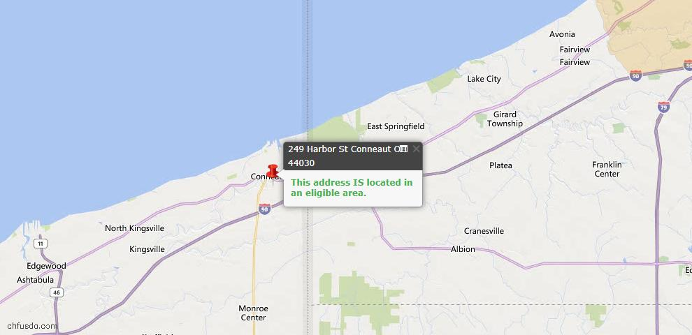 USDA Loan Eligiblity Map - 249 Harbor St, Conneaut, OH 44030