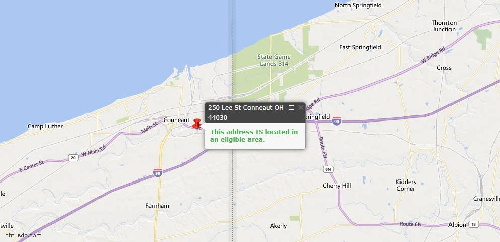 USDA Loan Eligiblity Map - 250 Lee St, Conneaut, OH 44030