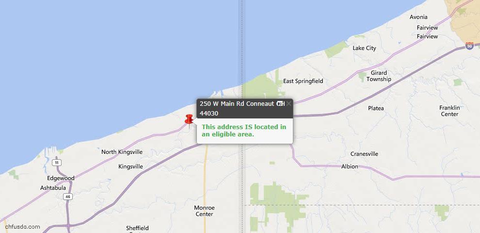 USDA Loan Eligiblity Map - 250 W Main Usr 20 Rd, Conneaut, OH 44030