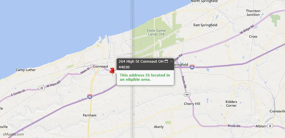 USDA Loan Eligiblity Map - 264 High St, Conneaut, OH 44030