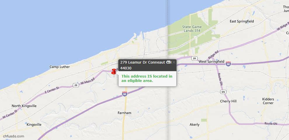 USDA Loan Eligiblity Map - 279 Leamur Dr, Conneaut, OH 44030