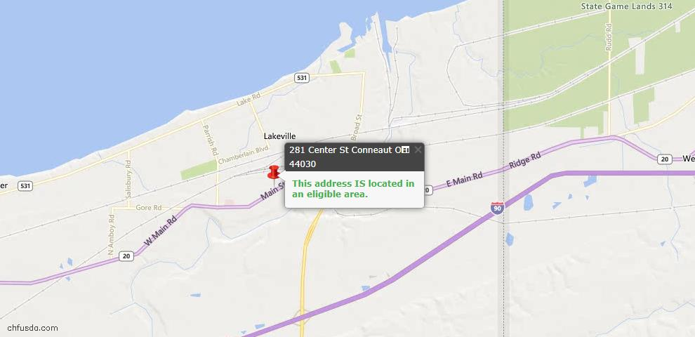 USDA Loan Eligiblity Map - 281 Center St, Conneaut, OH 44030