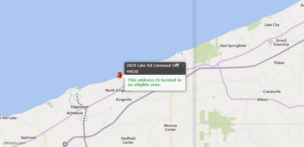 USDA Loan Eligiblity Map - 2829 Lake Rd, Conneaut, OH 44030