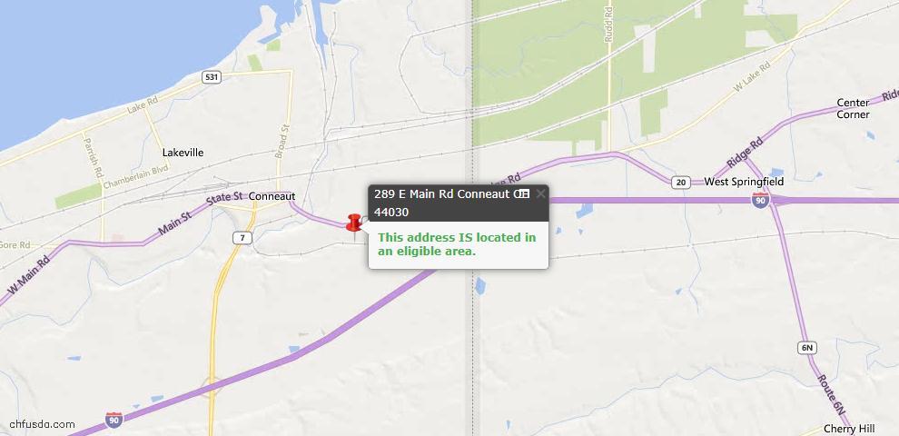 USDA Loan Eligiblity Map - 289 E Main Rd, Conneaut, OH 44030